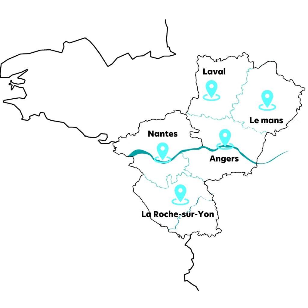 Carte Région des Pays de la Loire ©digitalkpi